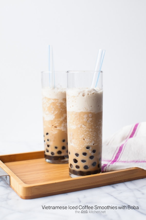 Vietnamese Iced Coffee Smoothie with Boba from thelittlekitchen.net