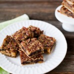 Chocolate Chip Pecan Pie Bars from thelittlekitchen.net