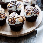 Chocolate Pumpkin S'mores Cupcakes from thelittlekitchen.net