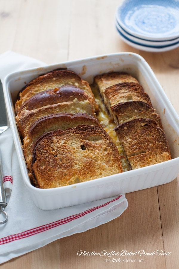 Nutella-Stuffed Baked French Toast from  thelittlekitchen.net