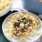 Beef Stroganoff with Buttered Noodles Recipe from thelittlekitchen.net