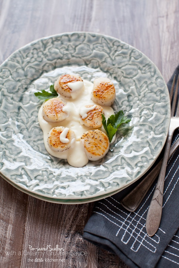 Pan-Seared Scallops with a Gruyère Cheese Sauce from The Little Kitchen thelittlekitchen.net