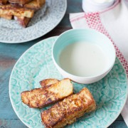 So easy to make and these are such a treat! French Toast Sticks with Maple Butter Dipping Sauce from The Little Kitchen thelittlekitchen.net