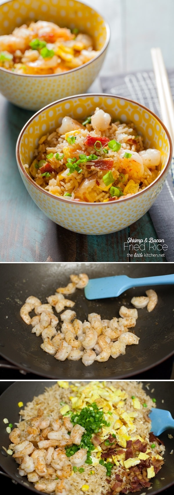 Such an easy fried recipe and the best ever...with a secret ingredient that makes it just like your favorite take out fried rice! Bacon and Shrimp Fried Rice from The Little Kitchen thelittlekitchen.net
