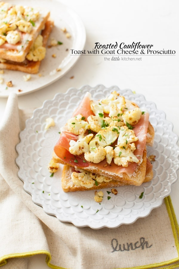 So easy to make...the flavors of the roasted cauliflower go so well well with butter, goat cheese & prosciutto! Roasted Cauliflower Toast with Goat Cheese & Prosciutto from thelittlekitchen.net