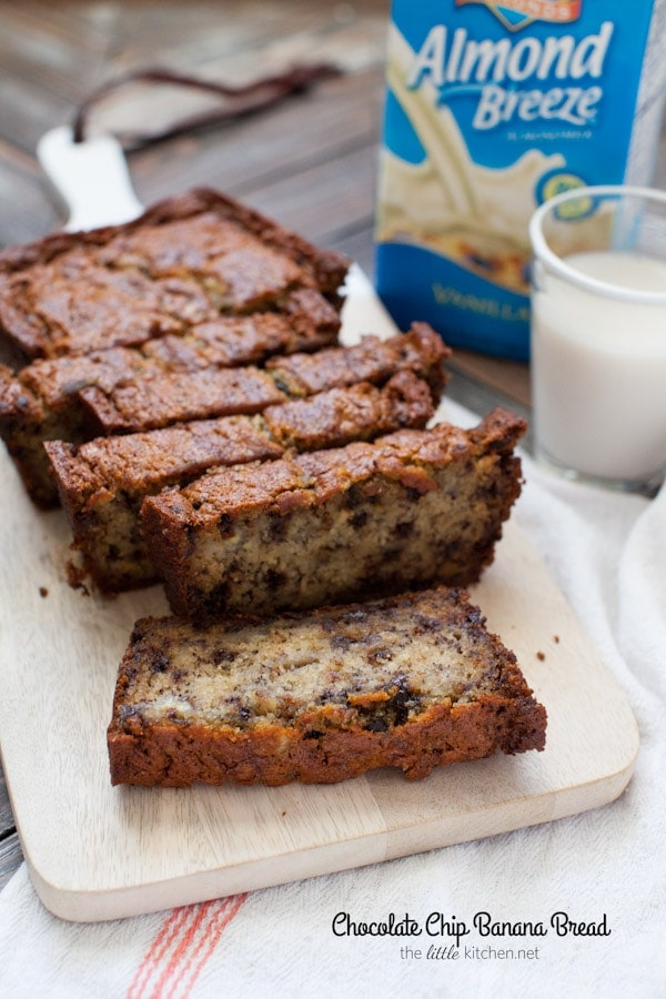 This bread is so easy to make and it's made with almondmilk! Chocolate Chip Banana Bread from thelittlekitchen.net