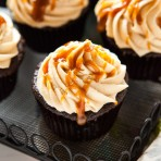 Double Chocolate Cupcakes with Salted Caramel Buttercream from thelittlekitchen.net