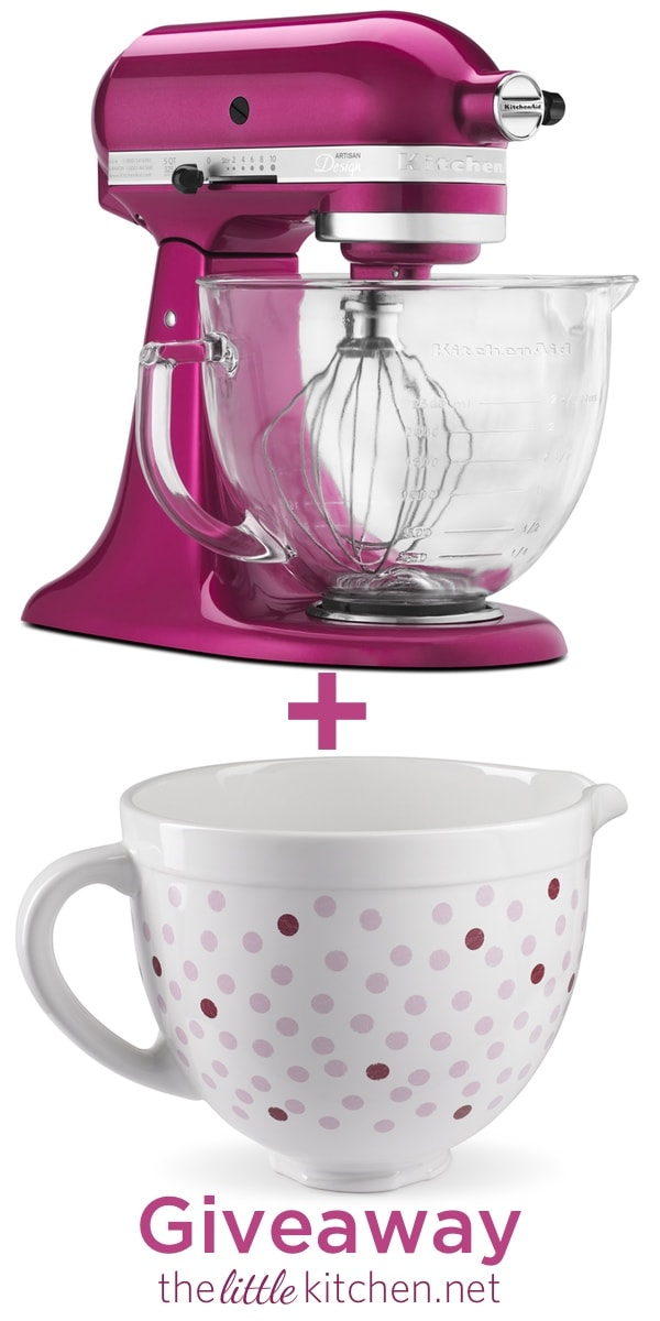 KitchenAid Raspberry Ice Stand Mixer & Ceramic Bowl Giveaway thelittlekitchen.net