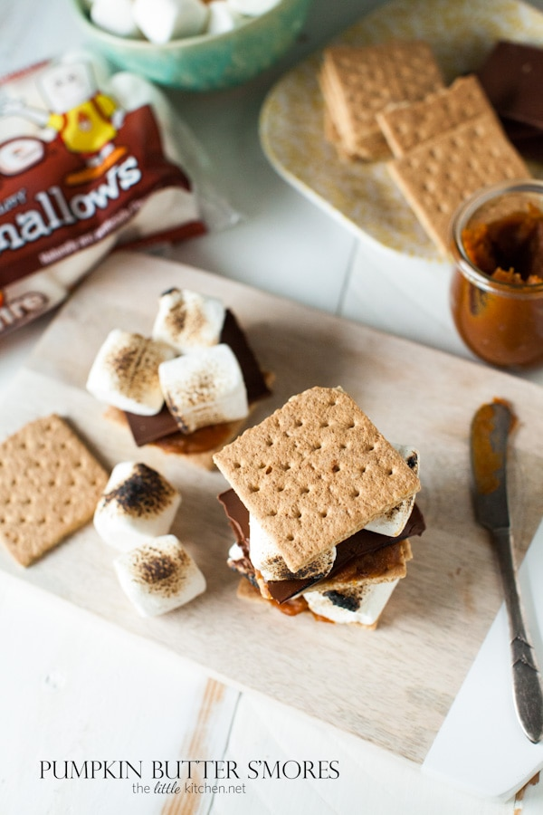 so easy and amazing! Pumpkin Butter S'mores from thelittlekitchen.net