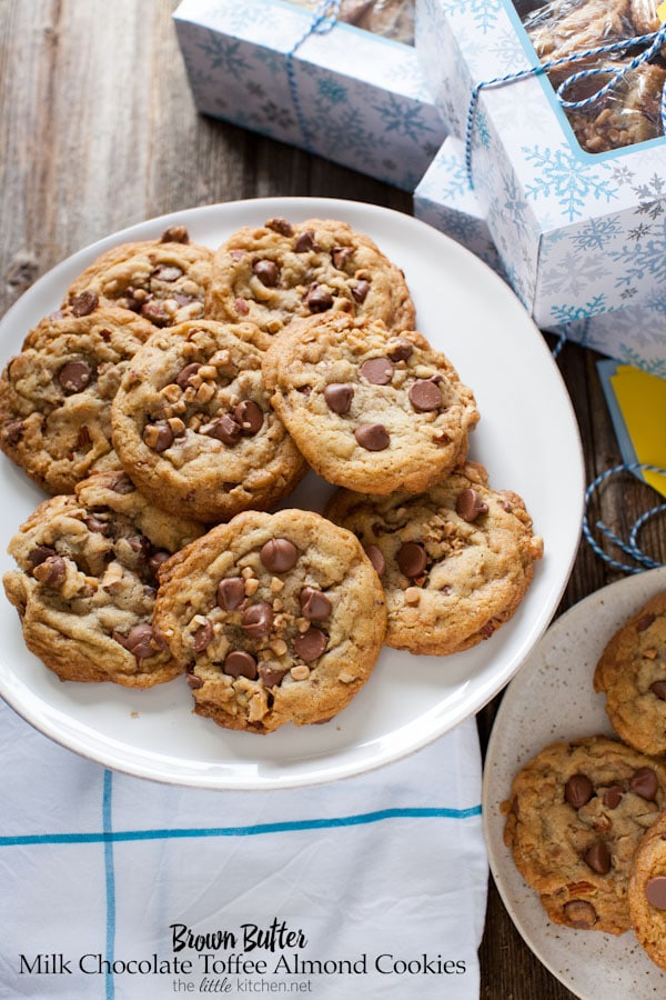 Brown Butter Milk Chocolate Toffee Almond Cookies | The Little Kitchen