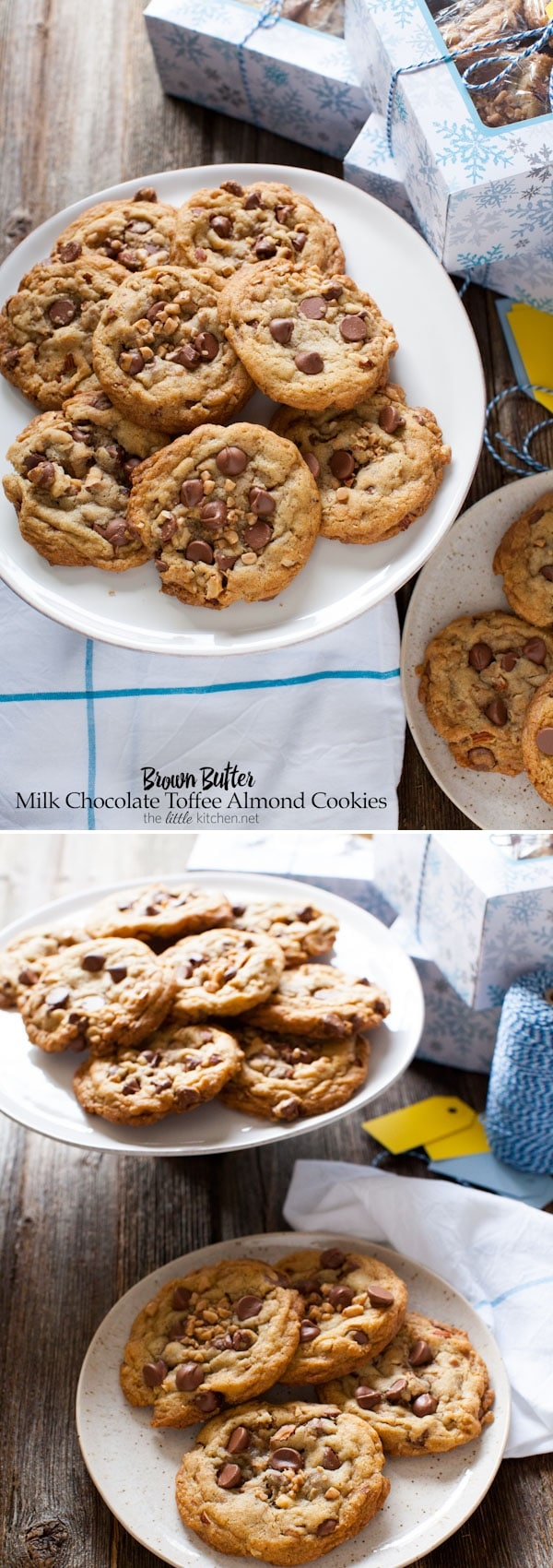 Brown Butter Milk Chocolate Toffee Almond Cookies from thelittlekitchen.net