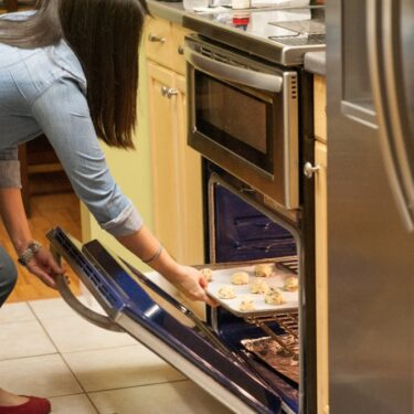 Julie Deily in the little kitchen