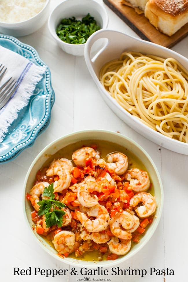 Red Pepper and Garlic Shrimp Pasta from thelittlekitchen.net