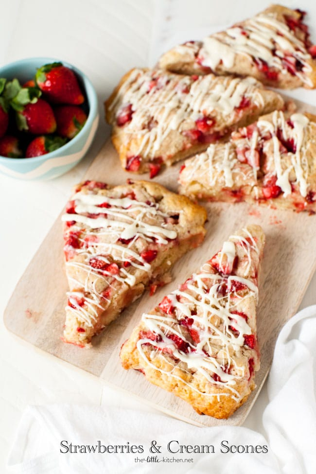 Strawberries and Cream Scones with White Chocolate Glaze from thelittlekitchen.net