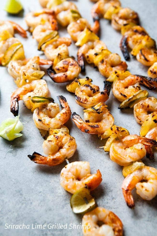 Sriracha Lime Grilled Shrimp from thelittlekitchen.net
