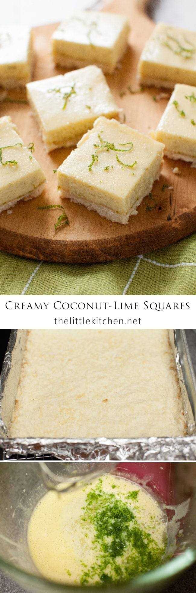 Creamy Coconut Lime Squares from thelittlekitchen.net