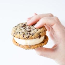 Chocolate Chip Cookie Ice Cream Sandwich from thelittlekitchen.net