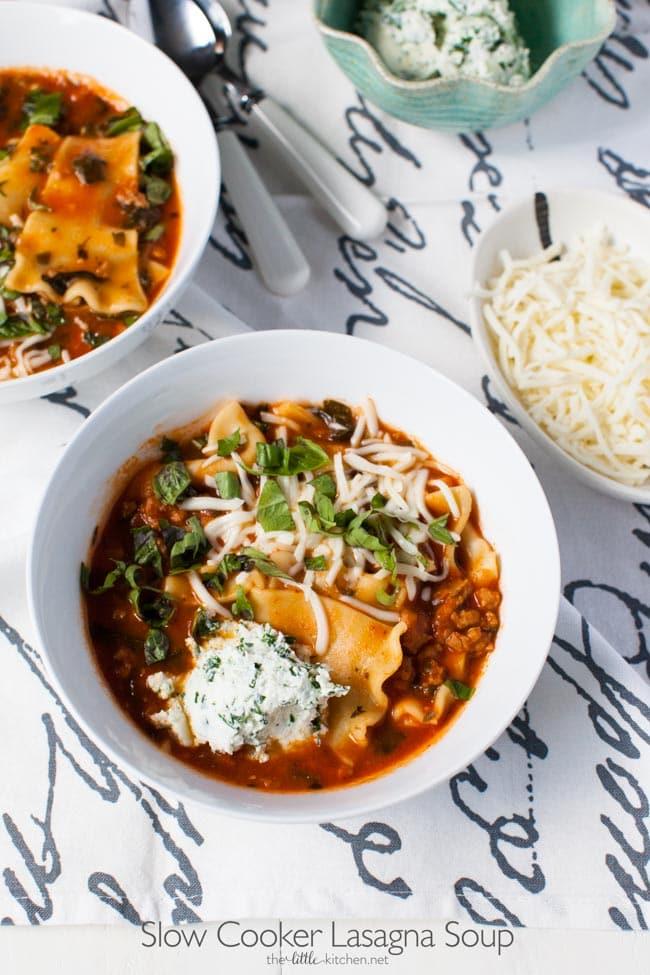 Slow Cooker Lasagna Soup from thelittlekitchen.net