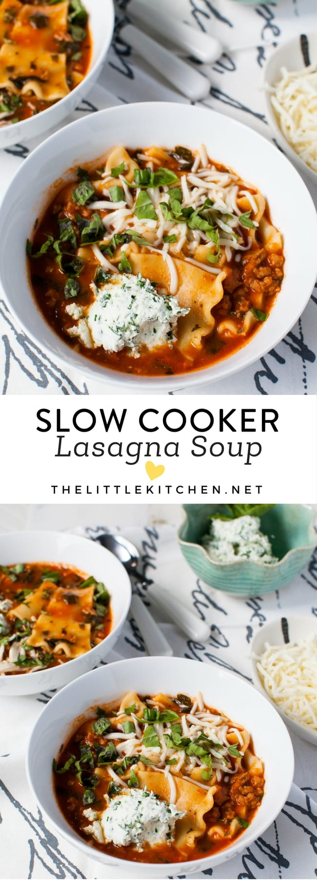 Slow Cooker Lasagna Soup from thelittlekitchen.net