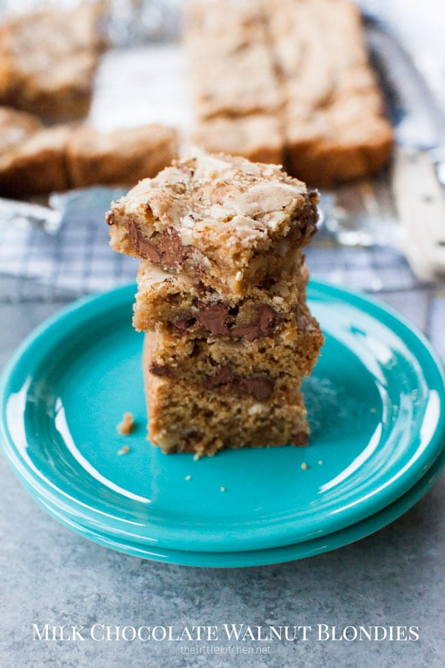 Milk Chocolate Walnut Blondies from thelittlekitchen.net