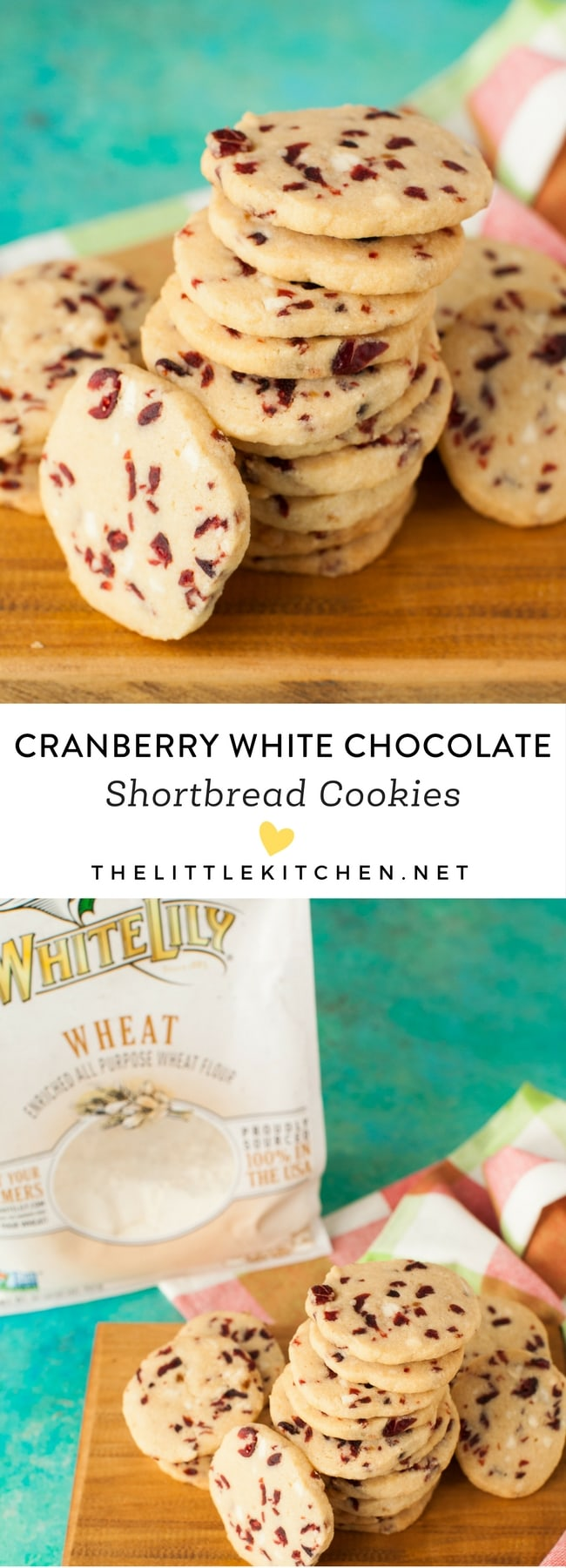 Cranberry White Chocolate Shortbread Cookies from thelittlekitchen.net