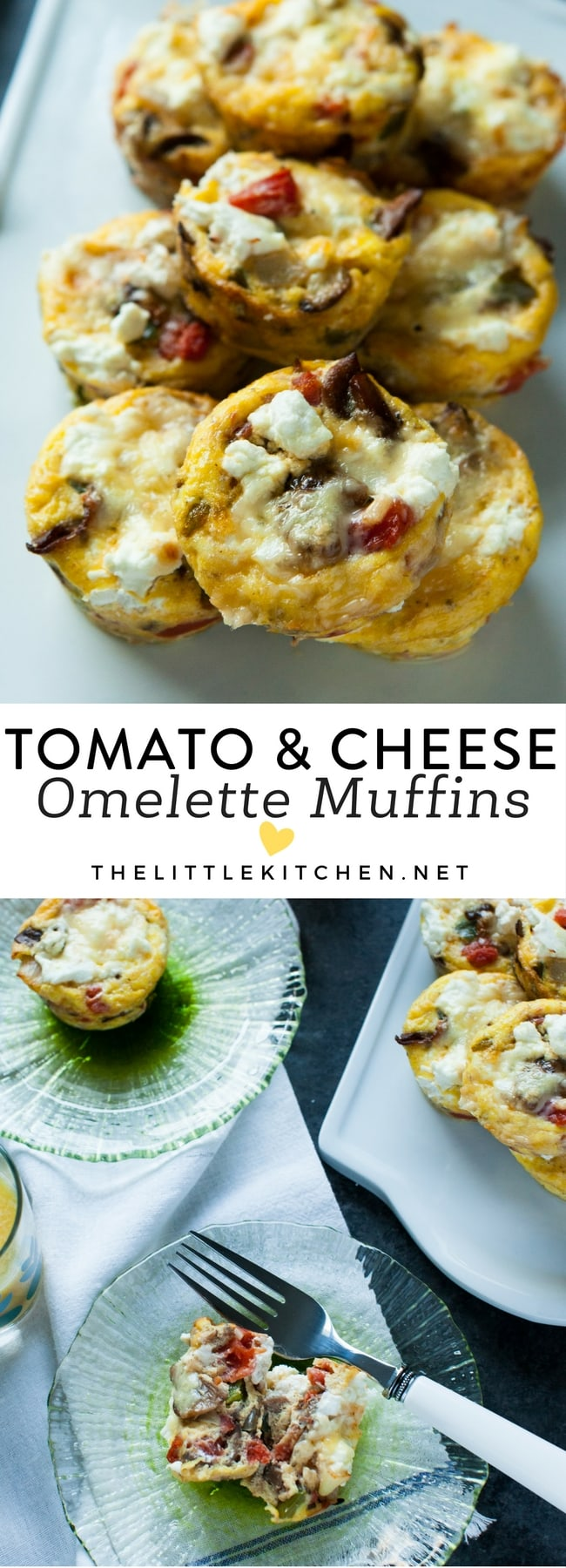 Tomato and Cheese Omelette Muffins from thelittlekitchen.net
