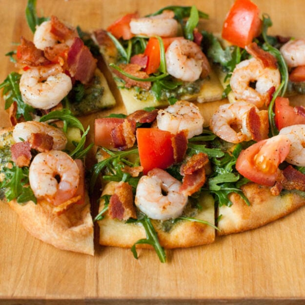 BLT Shrimp Flatbreads from thelittlekitchen.net