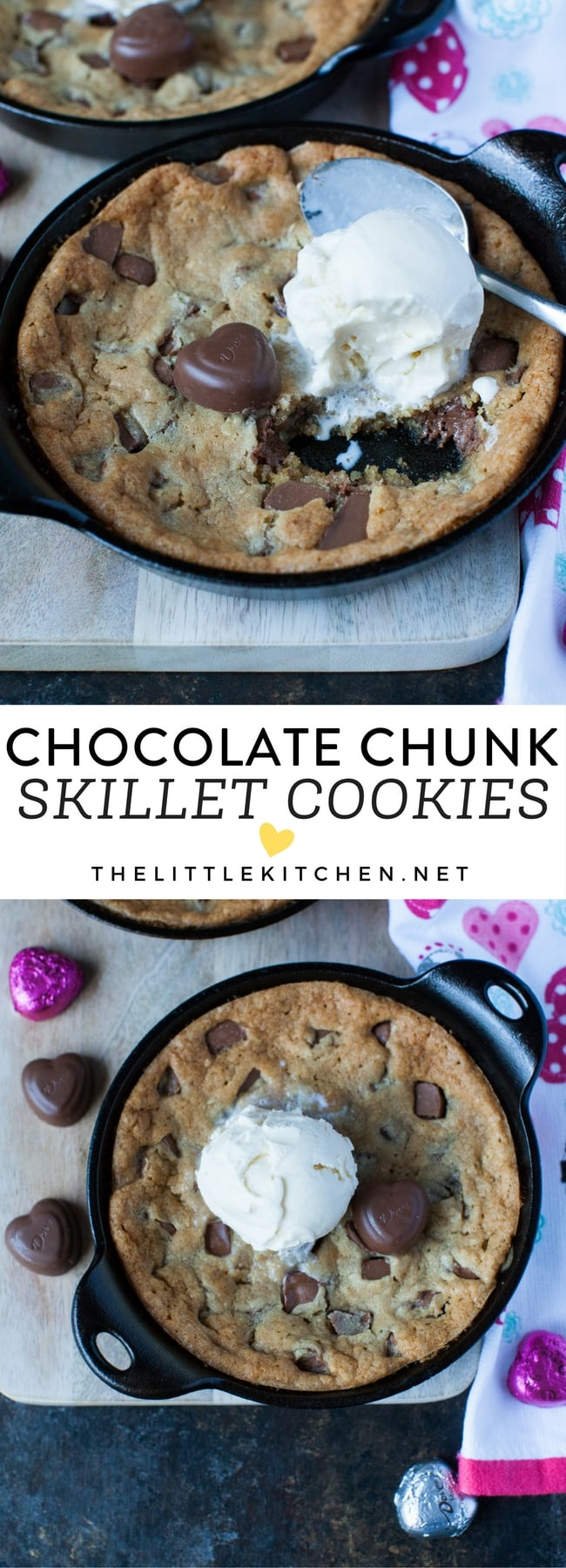 Chocolate Chunk Skillet Cookies from thelittlekitchen.net