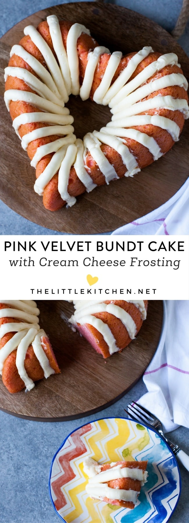 Heart-Shaped Pink Velvet Bundt Cake with Cream Cheese Frosting from thelittlekitchen.net