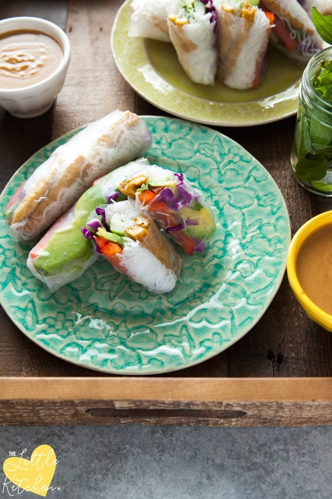 Tofu Avocado Spring Rolls With Peanut Dipping Sauce The Little