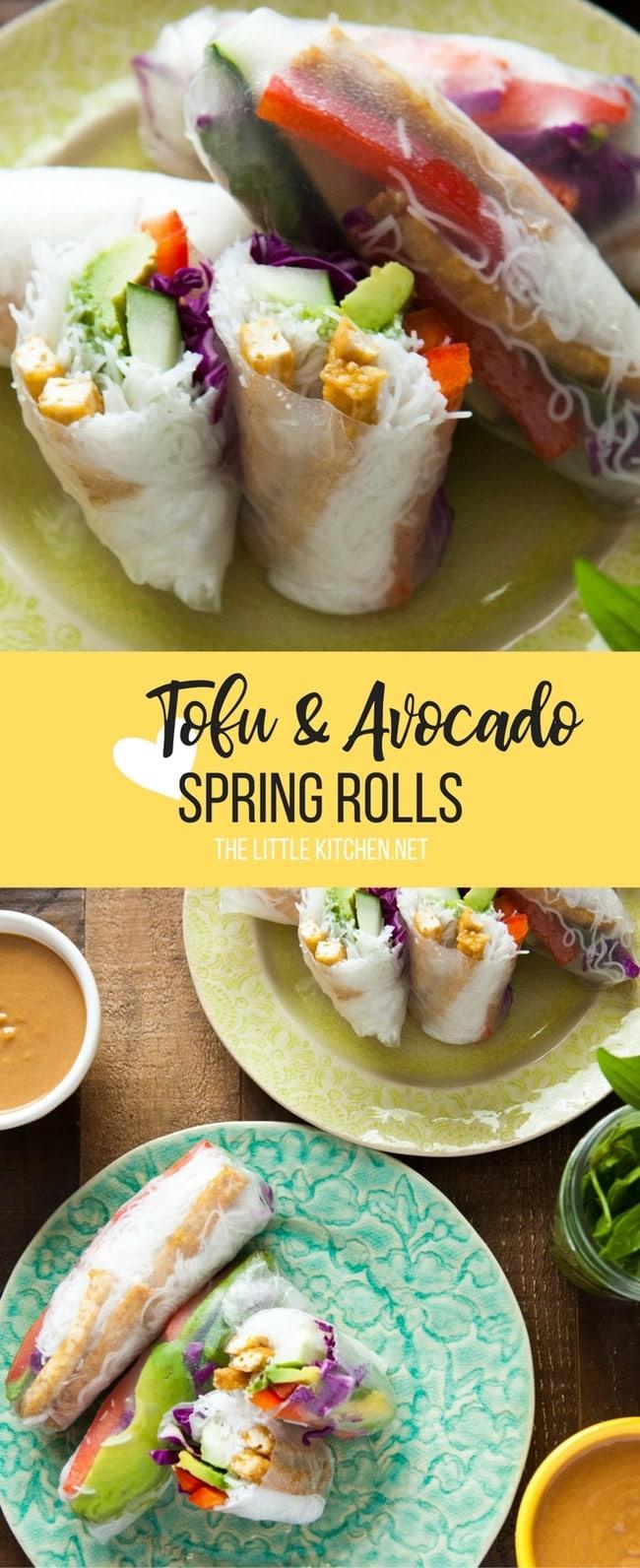 Tofu Avocado Spring Rolls With Peanut Dipping Sauce