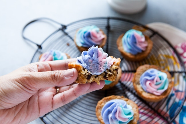 Chocolate Chip Cookie Cups with Unicorn Frosting from thelittlekitchen.net