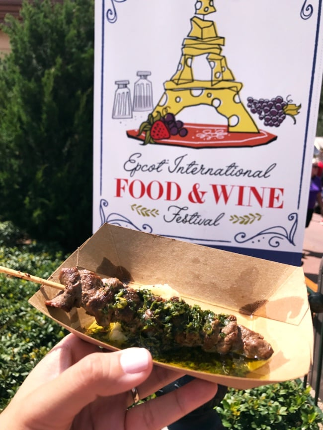 Walt Disney World trip Epcot Food and Wine beef skewers