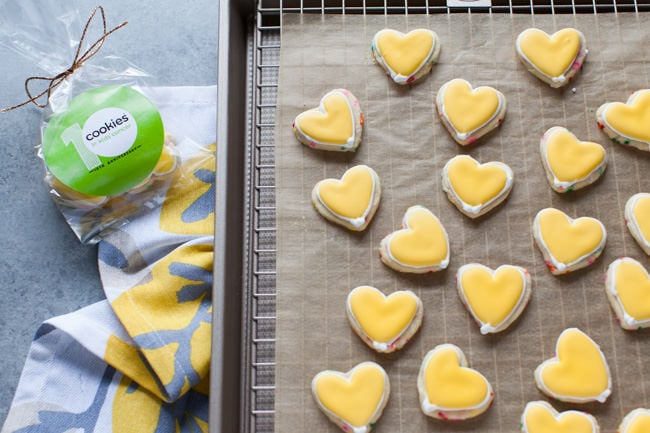 Yellow Heart-Shaped Rainbow Funfetti Cookies from thelittlekitchen.net