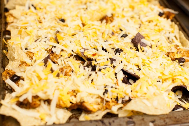 Sheet Pan Chicken Nachos from thelittlekitchen.net
