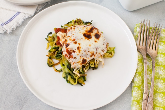 Chicken Parmesan with Zucchini Noodles from thelittlekitchen.net