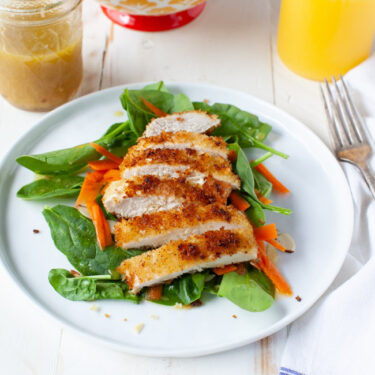Chicken Spinach Salad with Orange-Ginger Dressing from thelittlekitchen.net