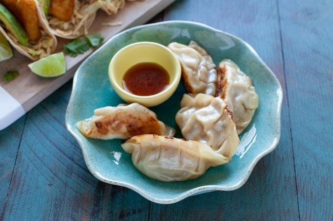 Asian Fish Tacos with Pork Dumplings from thelittlekitchen.net