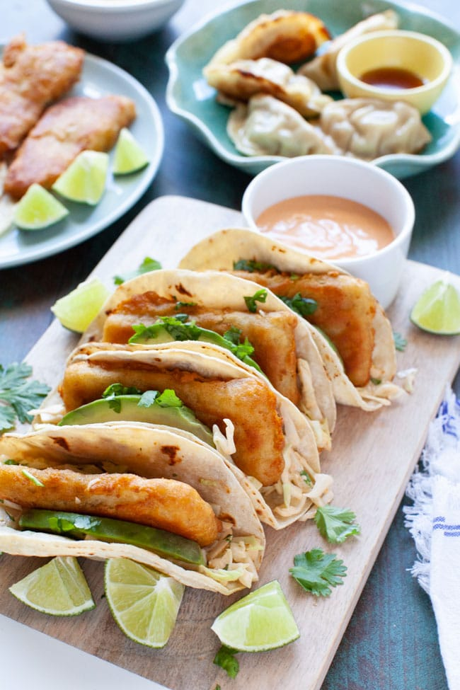 Asian Fish Tacos with Pork Dumplings from thelittlekitchen.net