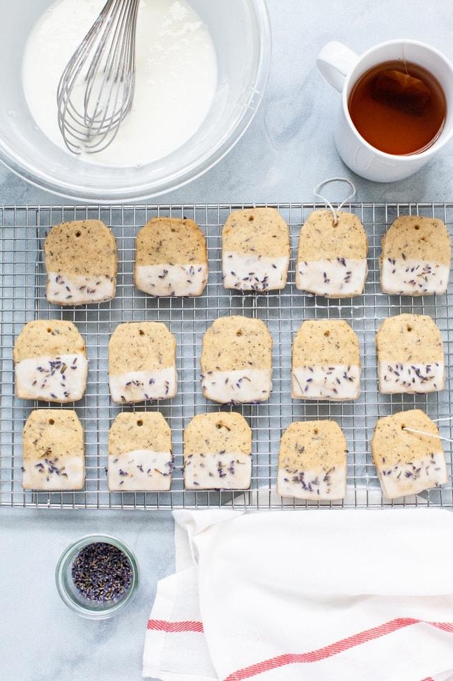 Black Tea Lavender Shortbread Cookies Recipe from thelittlekitchen.net