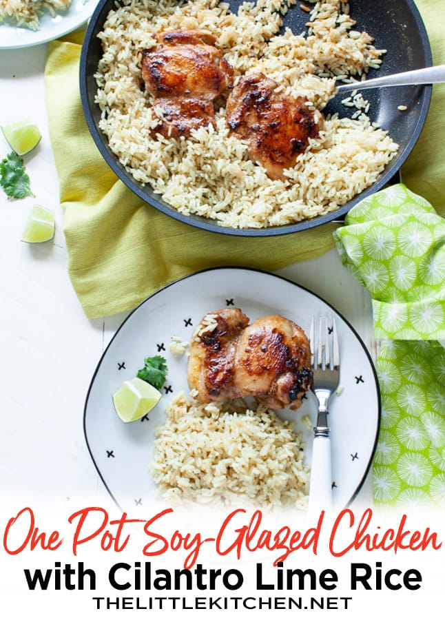One Pot Soy-Glazed Chicken with Cilantro Lime Rice from thelittlekitchen.net