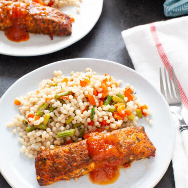 Salmon with Roasted Vegetable Couscous from thelittlekitchen.net
