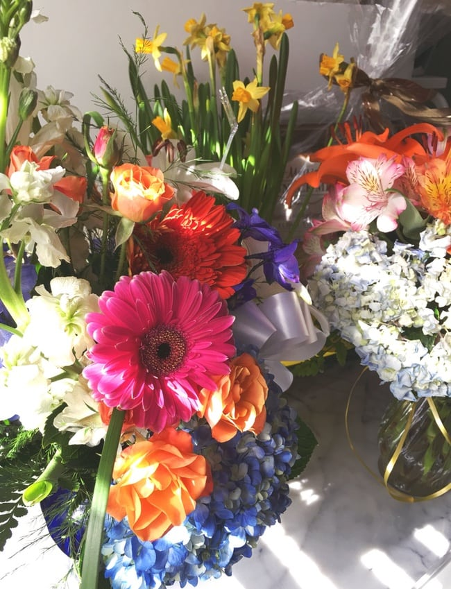 flower arrangements on a table