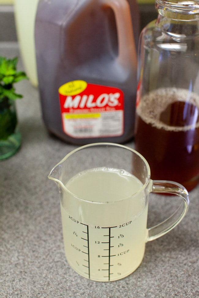 lemonade in a glass measuring cup