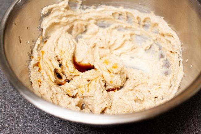 Mixing vanilla extract into Matcha Cookie batter from thelittlekitchen.net