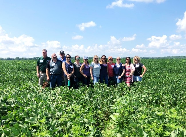 Group standing in a soy bean field with blue sky in the background for the Best Food Facts Tour thelittlekitchen.net