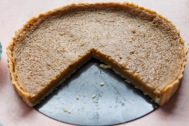 Sugar Pie with two slices cut out