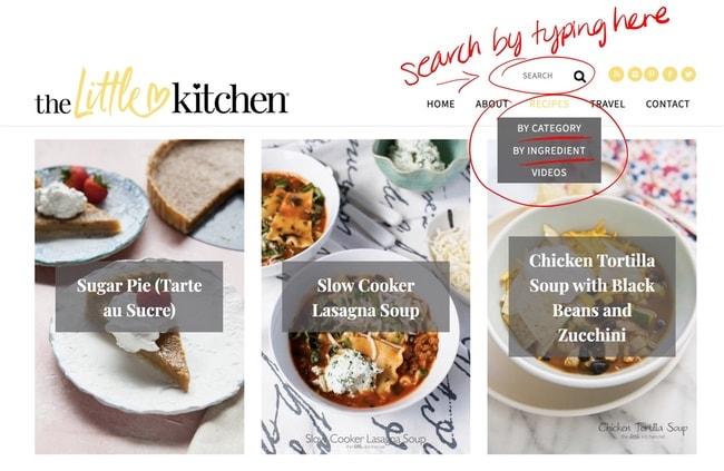 screenshot of The Little Kitchen blog homepage