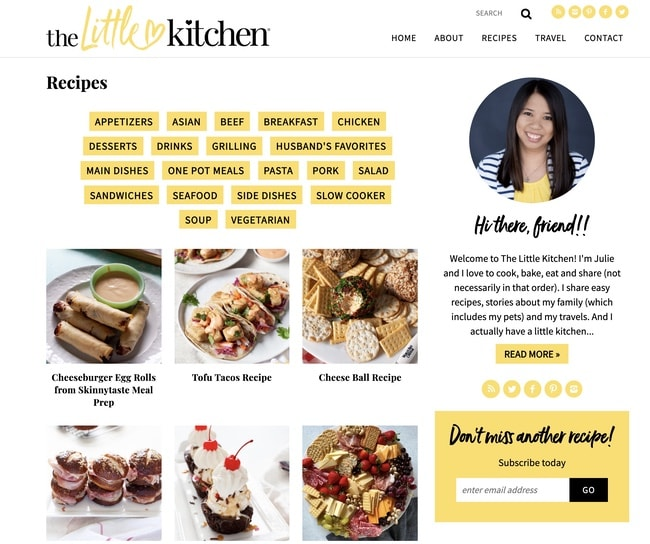 screenshot of The Little Kitchen blog recipe category page