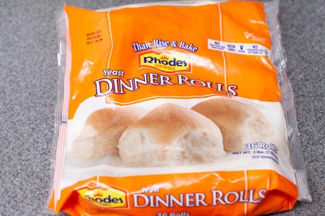 a bag of Rhodes frozen Yeast Dinner Rolls